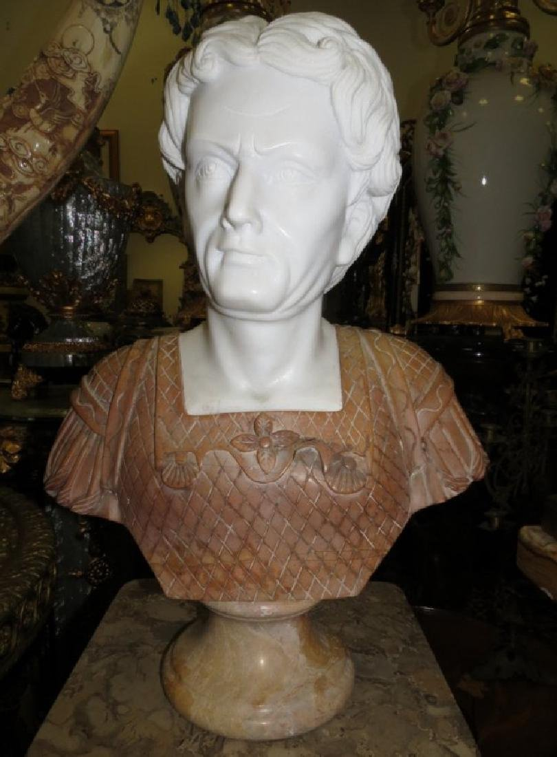 Carrara & Travertine Marble Bust H: 23""