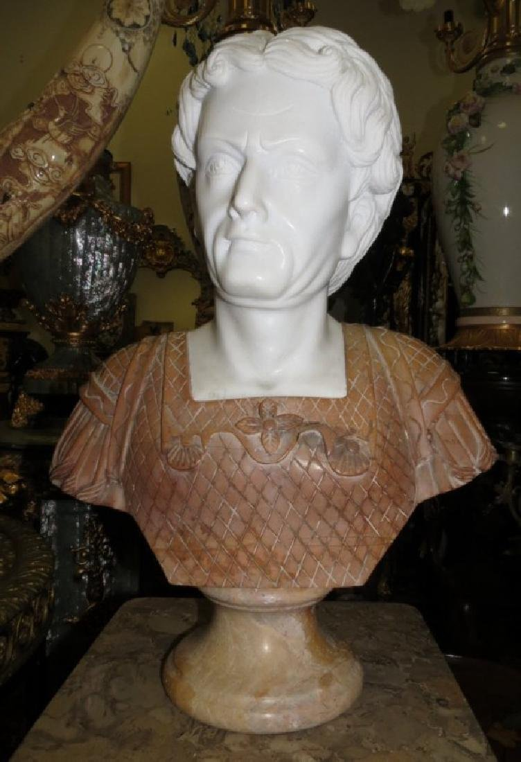 "Carrara & Travertine Marble Bust H: 23"" - 2"