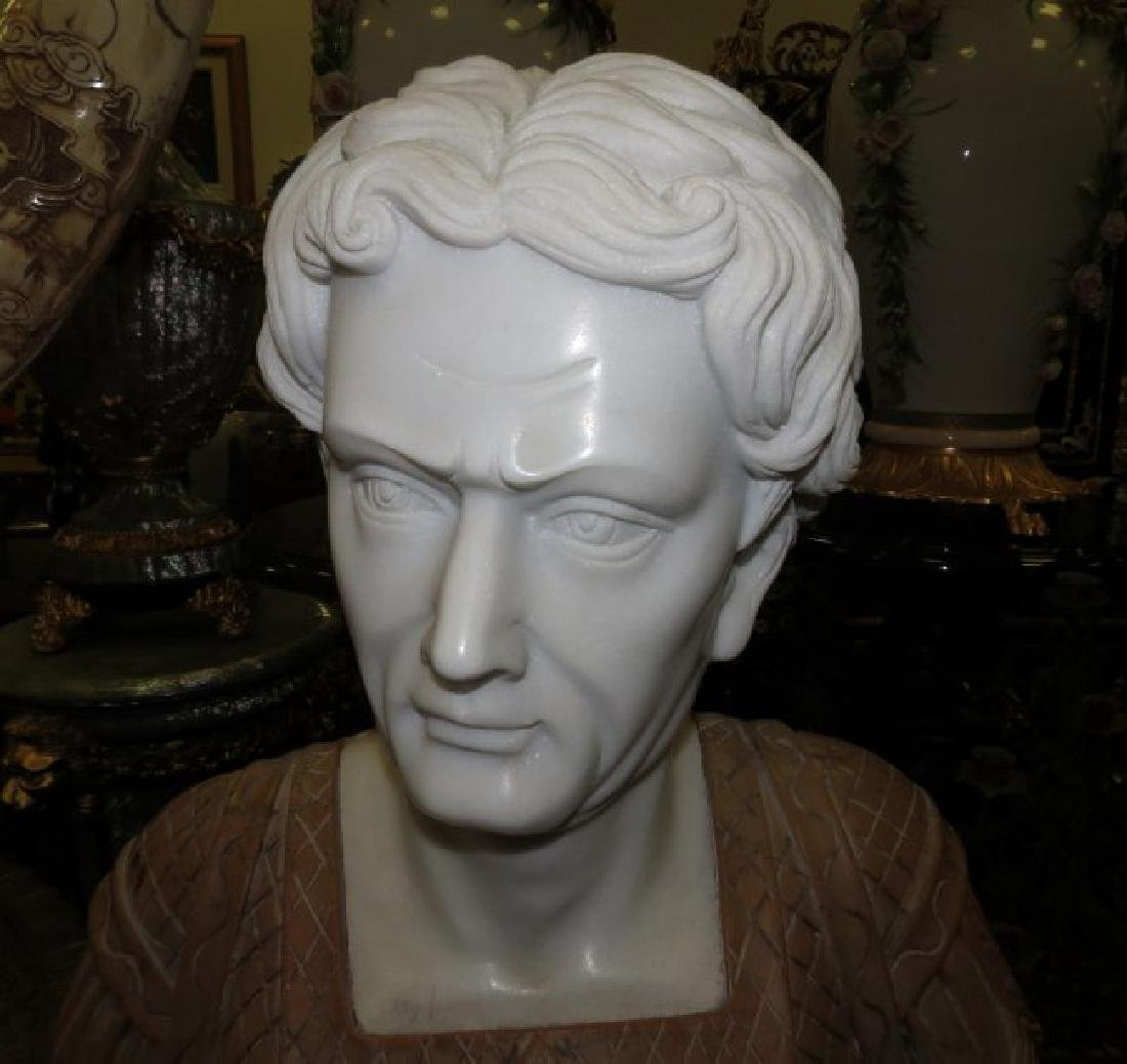 "Carrara & Travertine Marble Bust H: 23"" - 4"