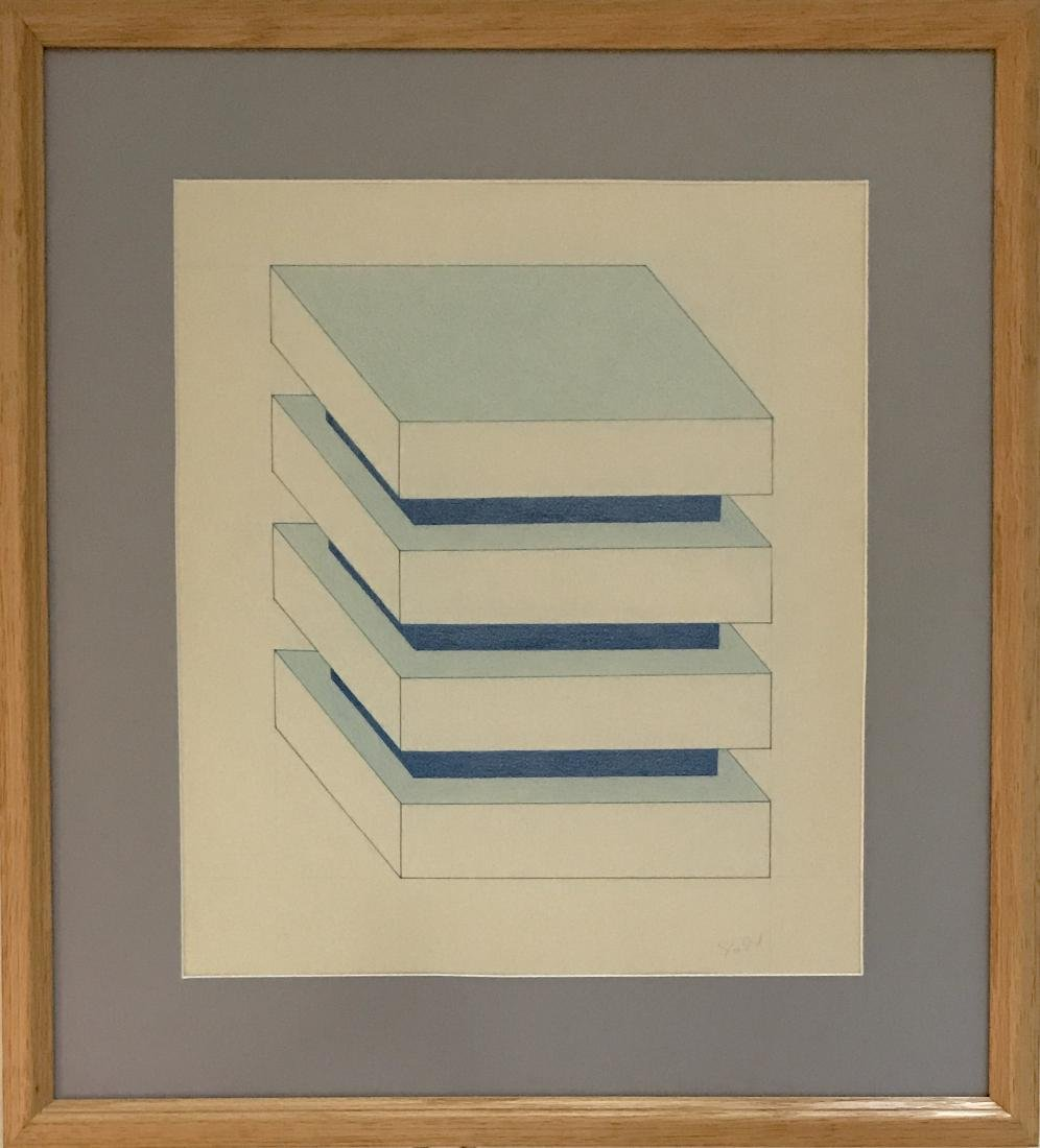 """Donald Judd - Color pencil on paper 16"""" x 14"""""""