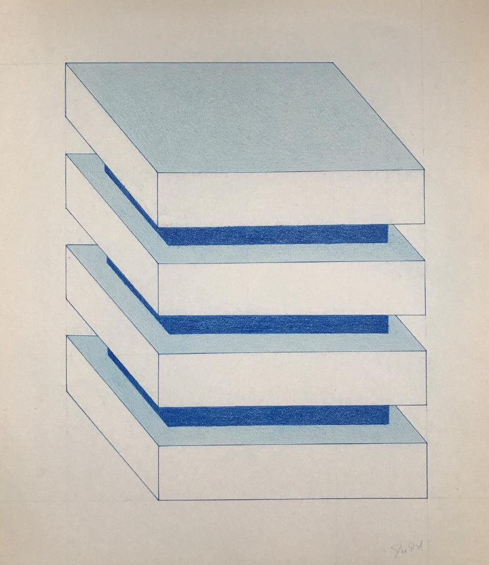 """Donald Judd - Color pencil on paper 16"""" x 14"""" - 2"""