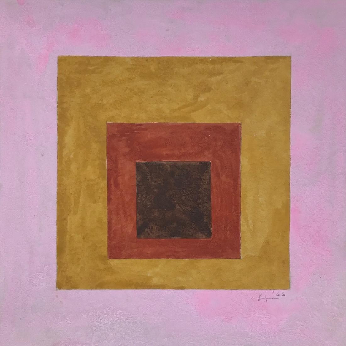 "Josef Albers 1966 Gouache on paper 9"" x 9"" - 2"