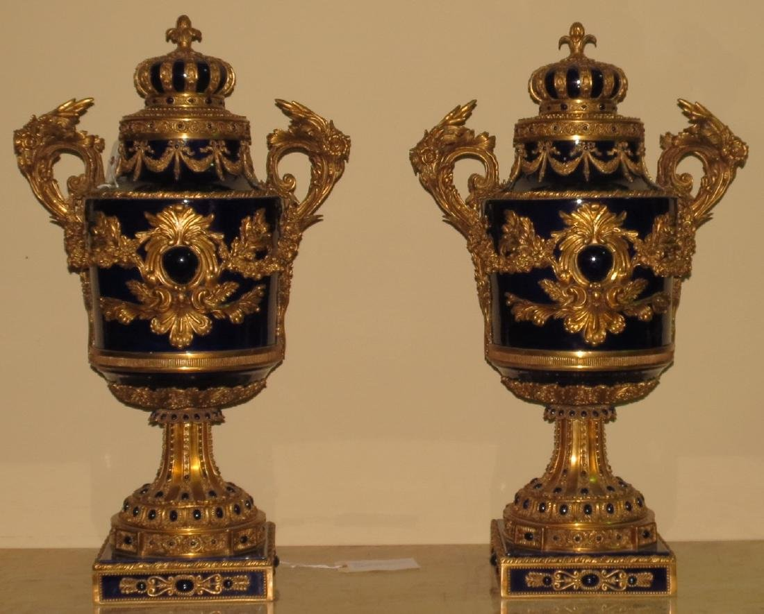 Pair of Cobalt Blue Urns - Porcelain & Bronze