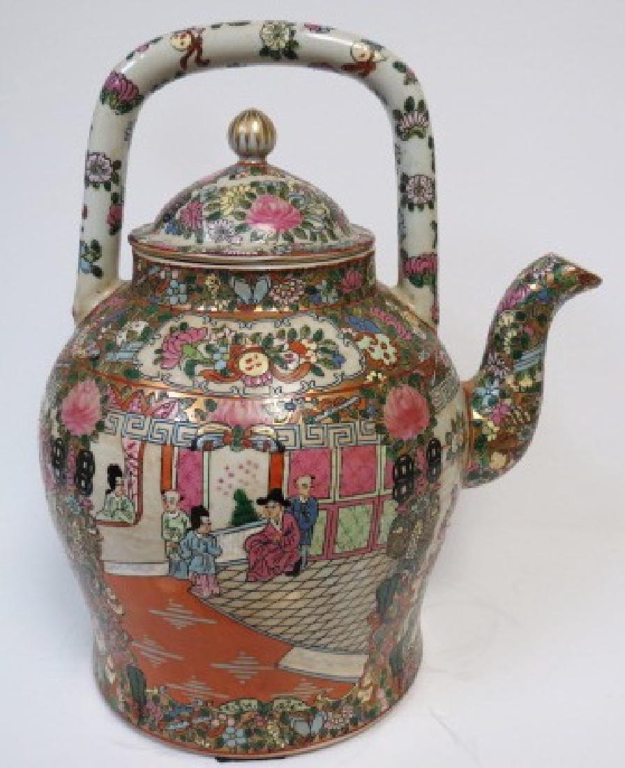 """Guangxu Family Rose Giant Tea Pot H: 14"""" D: 9"""""""
