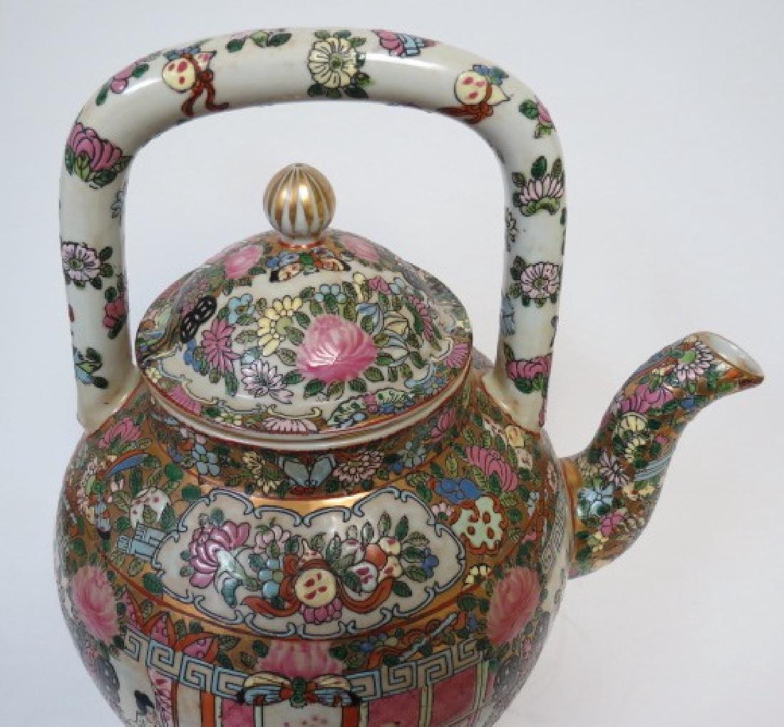 """Guangxu Family Rose Giant Tea Pot H: 14"""" D: 9"""" - 2"""
