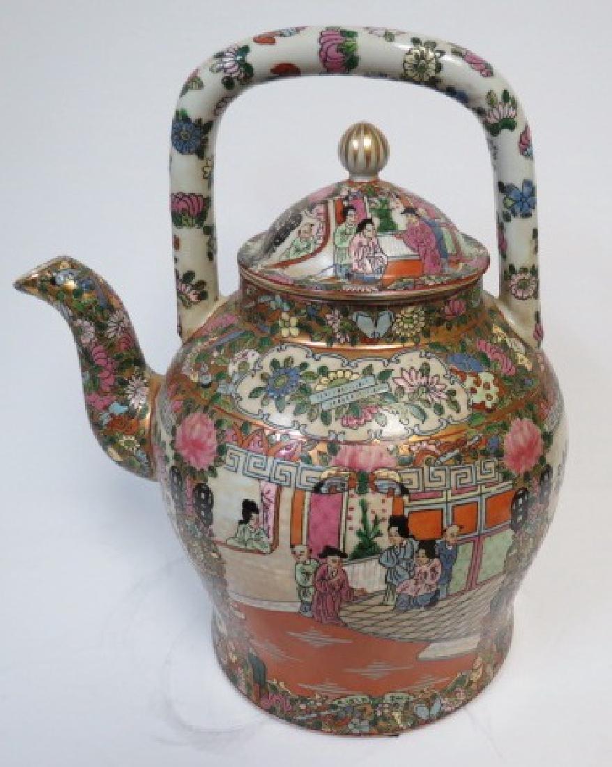 """Guangxu Family Rose Giant Tea Pot H: 14"""" D: 9"""" - 3"""