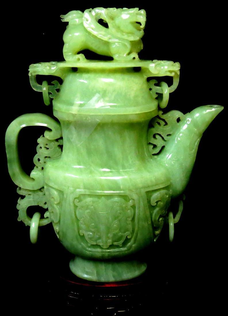 """Jadite Jar - Excellent carving - H: 10"""" Value $ 9000.00"""