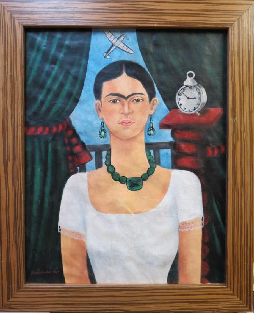 """Frida Kahlo 1929 Oil on Canvas - COA 24"""" x 20"""" - 2"""