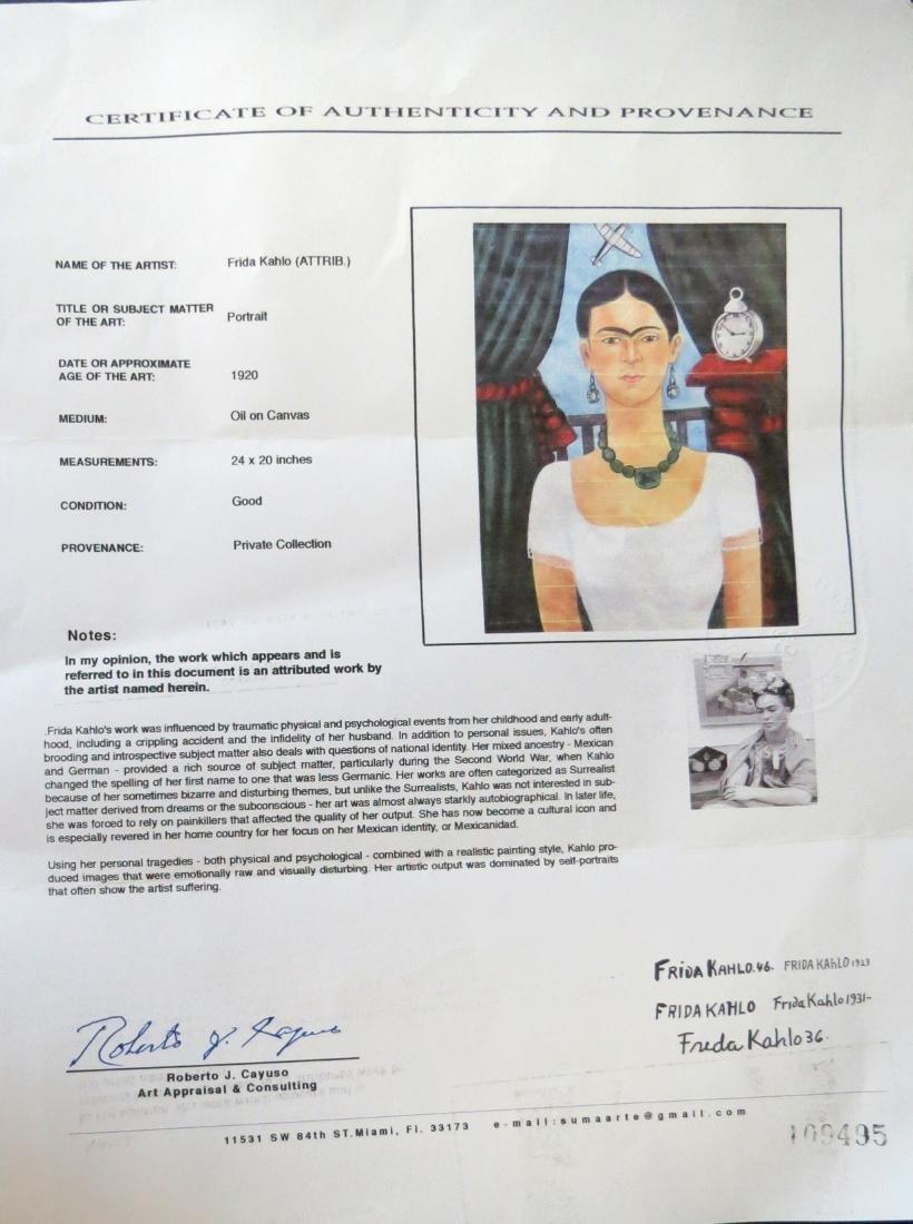 """Frida Kahlo 1929 Oil on Canvas - COA 24"""" x 20"""" - 5"""