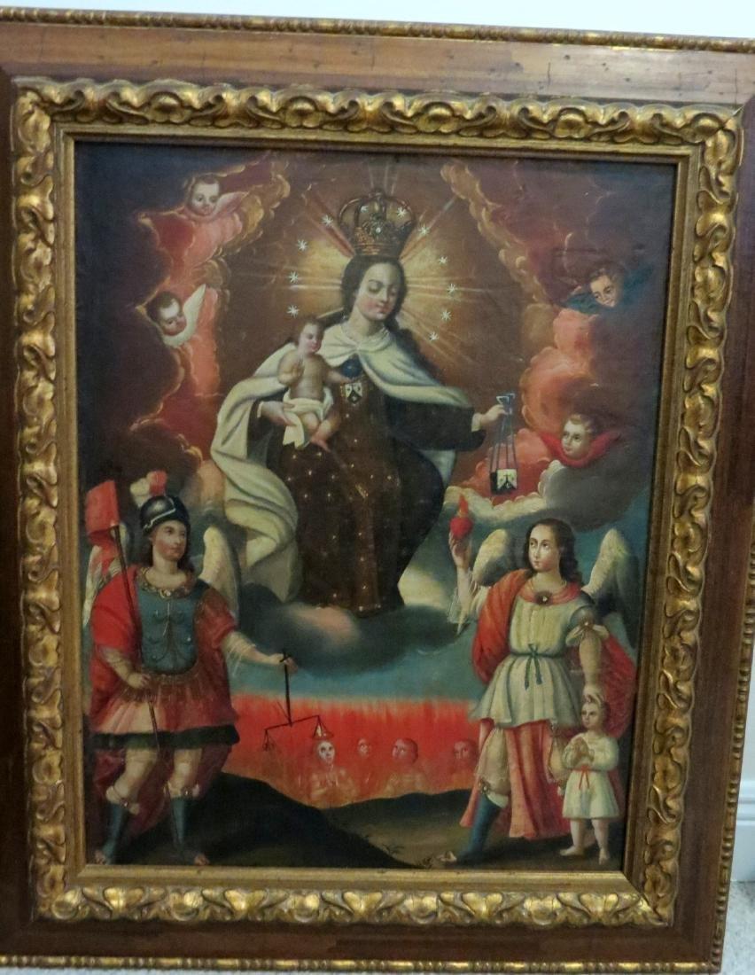 Virgen del Carmen, Colonial O/C late 18th Century.