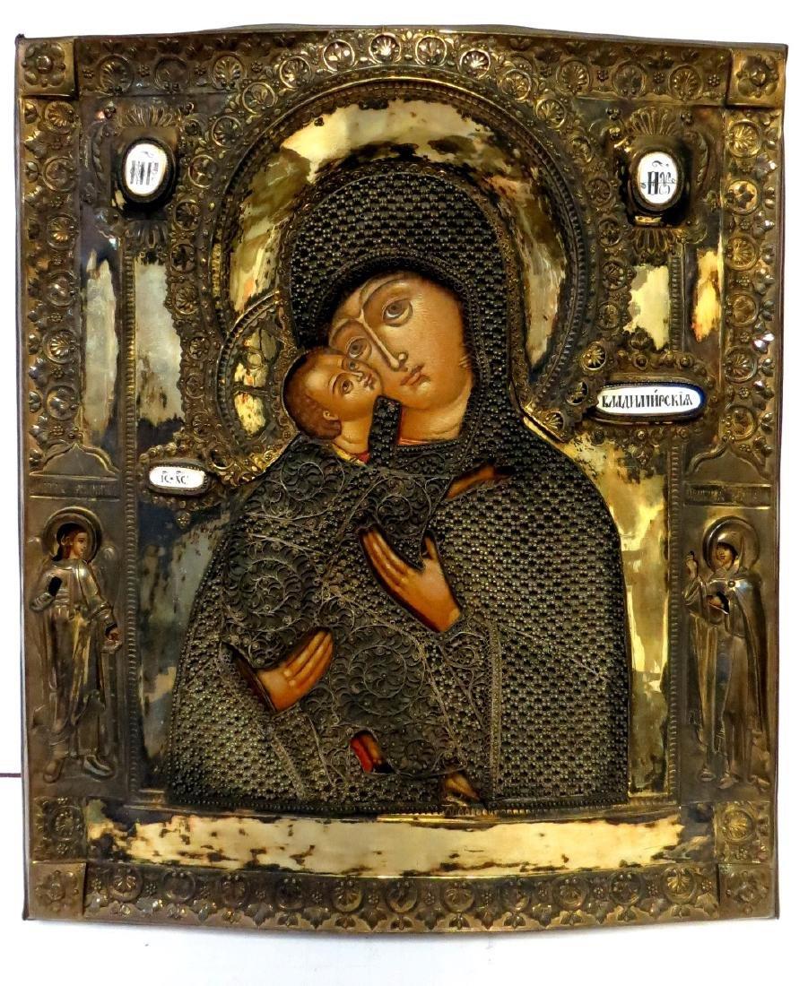 Russian Icon Virgin of Wladimir, Dore Silver COA