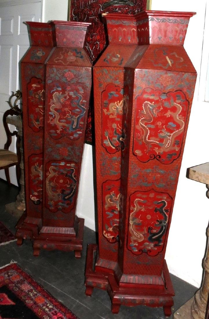 Large pair Chinese Red Lacquer Imperial vases w stands