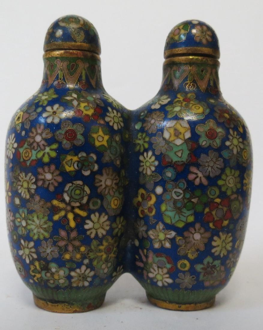 """Cloisonne Enamel Twin bottles ,Exceptional H-2.7"""""""