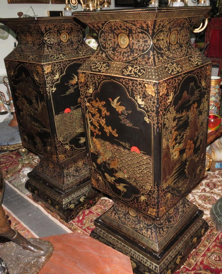 Large Pair Chinese Black Lacquer vases with stands