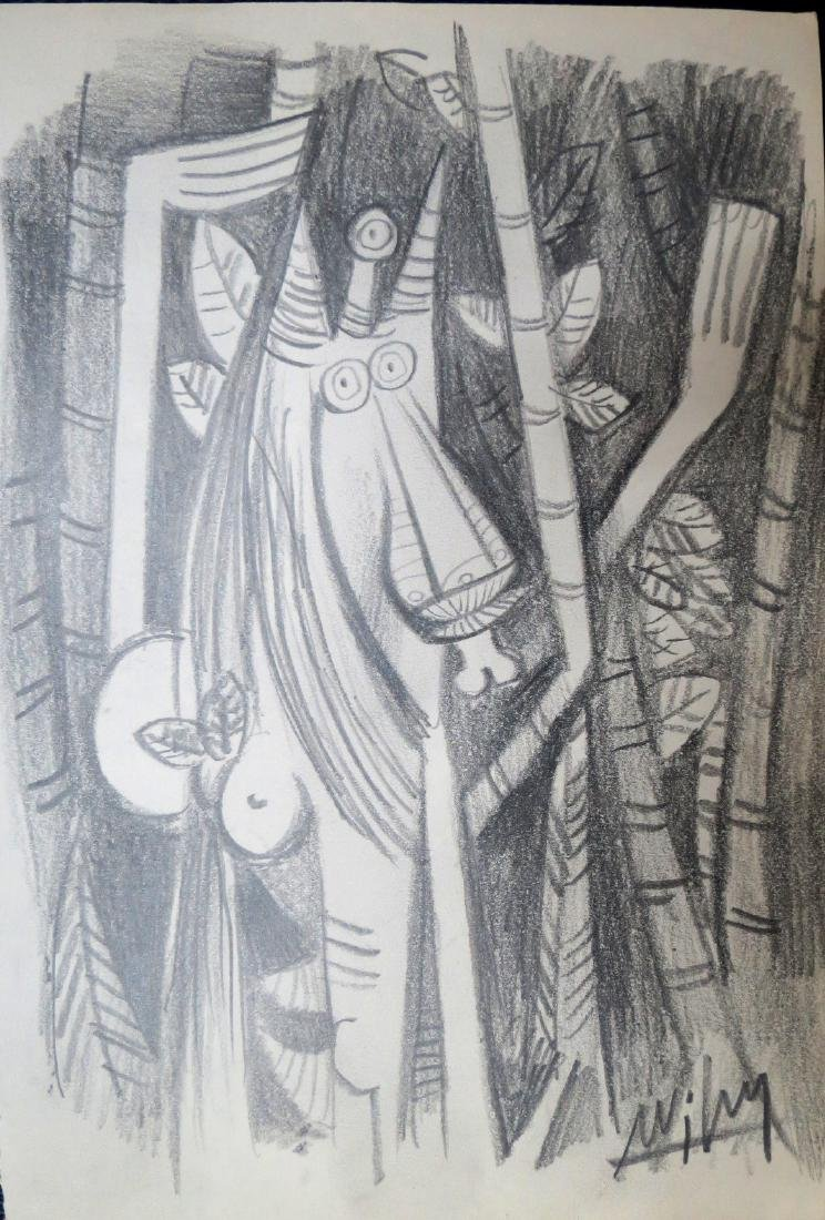 "Wifredo Lam - Pencil on paper 10"" x 7"" Unframed"