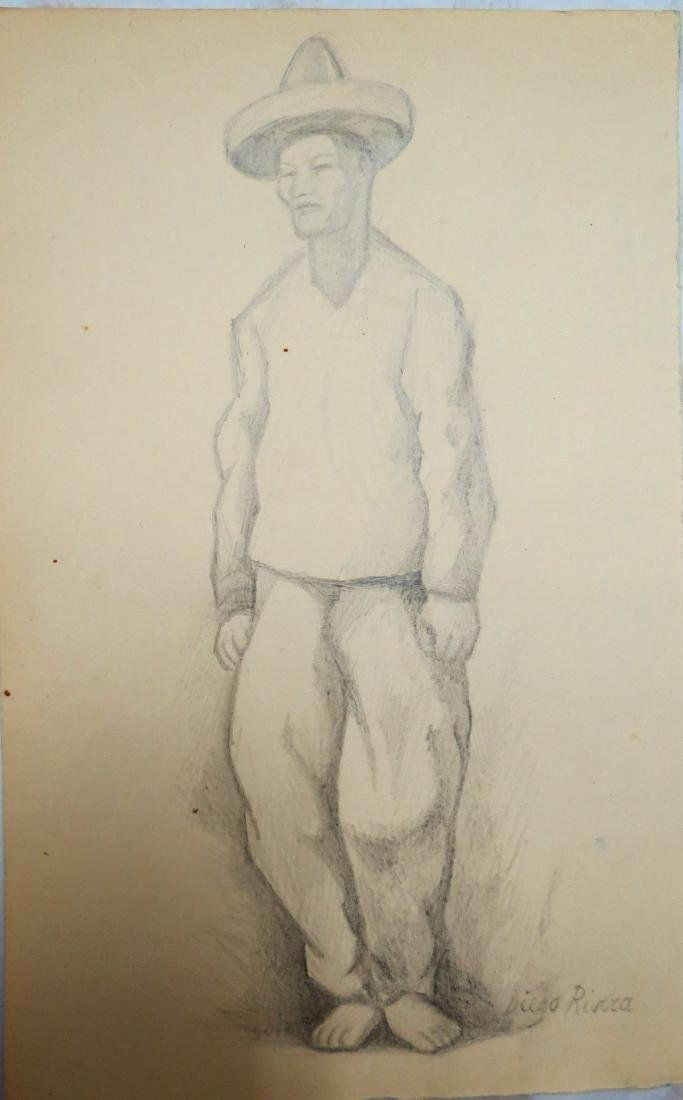 "Diego Rivera- Pencil on paper 8"" x 5"" Unframed"