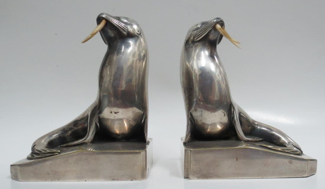 C.H.Laurent - Pair of Silvered Bronze Walruses Art Deco