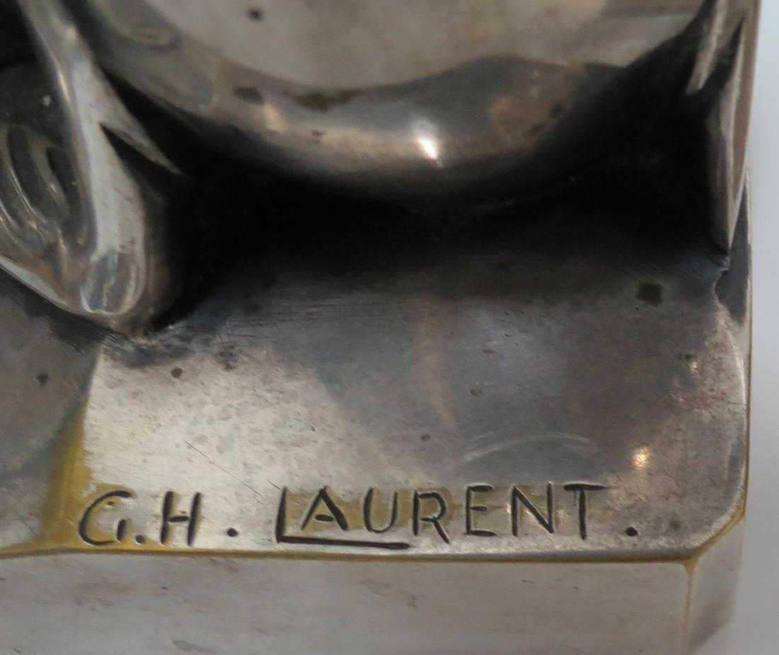 C.H.Laurent - Pair of Silvered Bronze Walruses Art Deco - 3