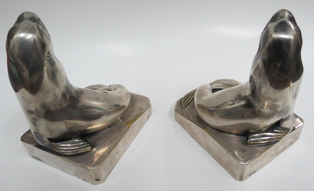 C.H.Laurent - Pair of Silvered Bronze Walruses Art Deco - 4