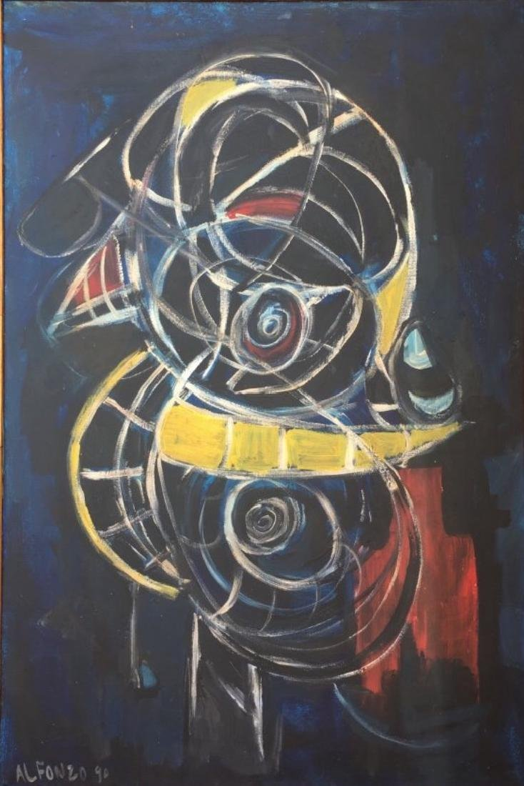 "Carlos Alfonzo 1990 Oil on Canvas 36"" x 24"" Cuba"