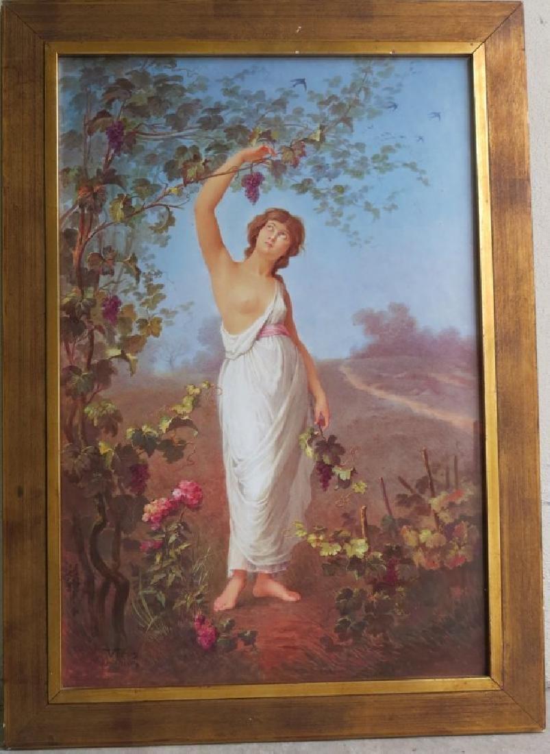 Porcelain Plaque Girl w/Grapes,  T.Tastens c.1890