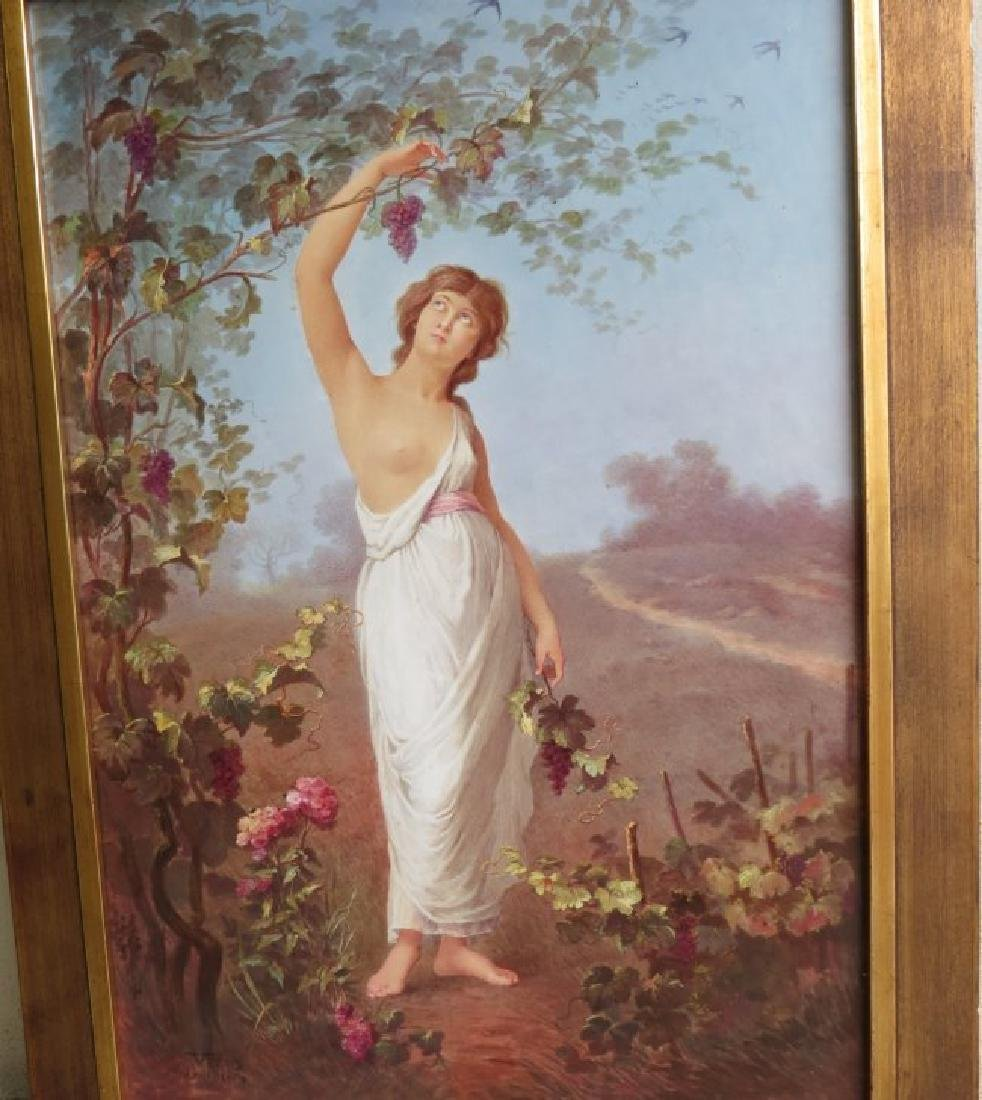 Porcelain Plaque Girl w/Grapes,  T.Tastens c.1890 - 2