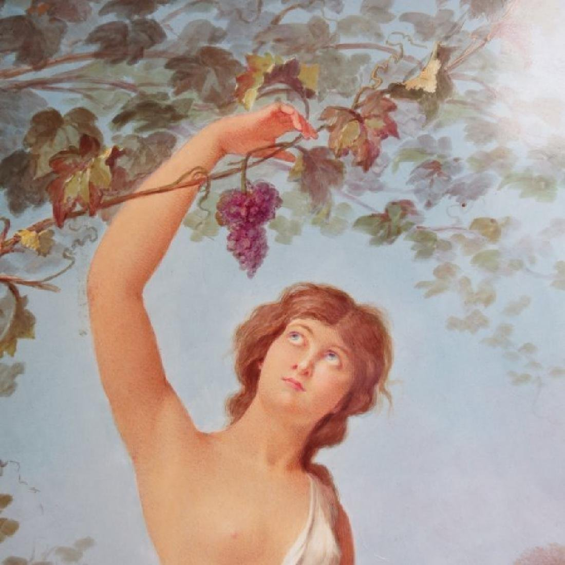 Porcelain Plaque Girl w/Grapes,  T.Tastens c.1890 - 3