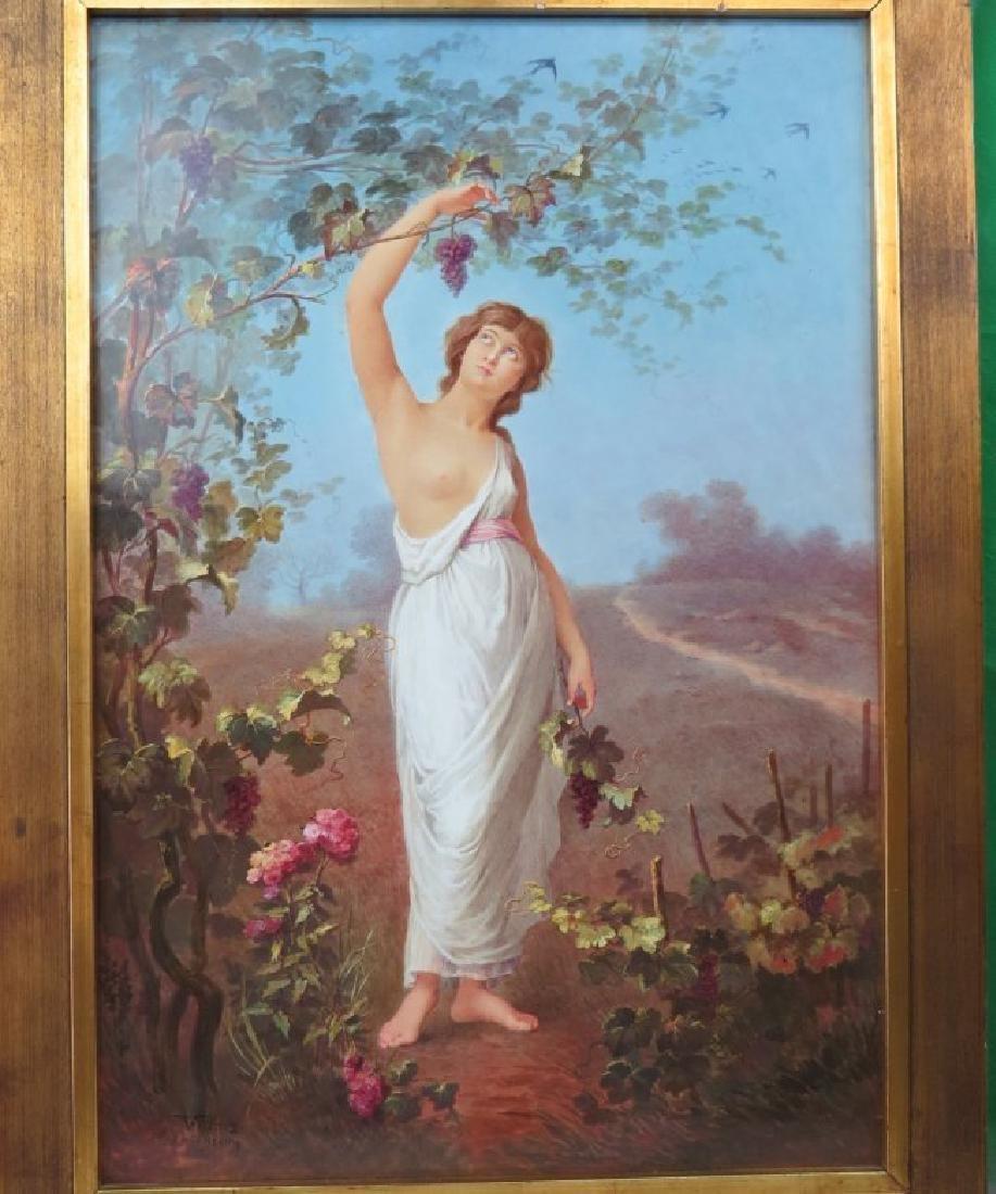Porcelain Plaque Girl w/Grapes,  T.Tastens c.1890 - 5