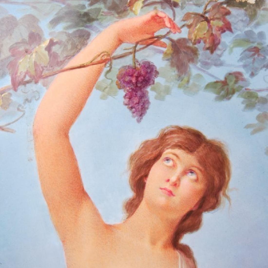 Porcelain Plaque Girl w/Grapes,  T.Tastens c.1890 - 6