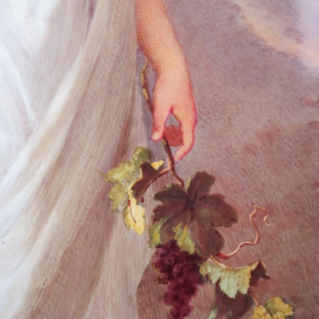 Porcelain Plaque Girl w/Grapes,  T.Tastens c.1890 - 7