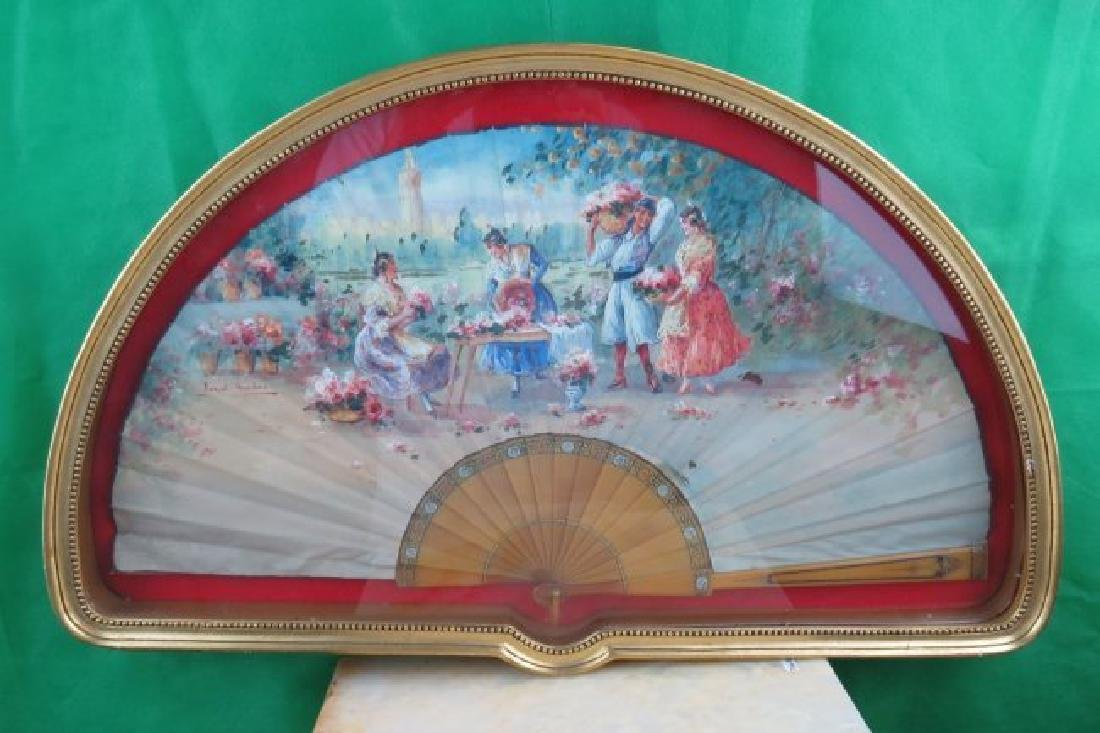 Hand Painted Fan with Vitrine Spain 1910 Signed
