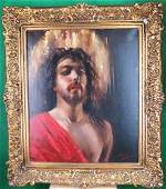 """Oil on Canvas C.1900 """"Jesus"""" by Vincenzo Irolli"""