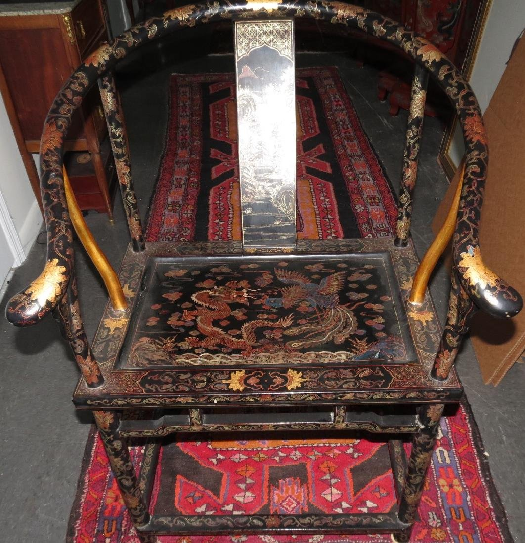Antique pair of Chinoiserie armchairs Qing dynasty