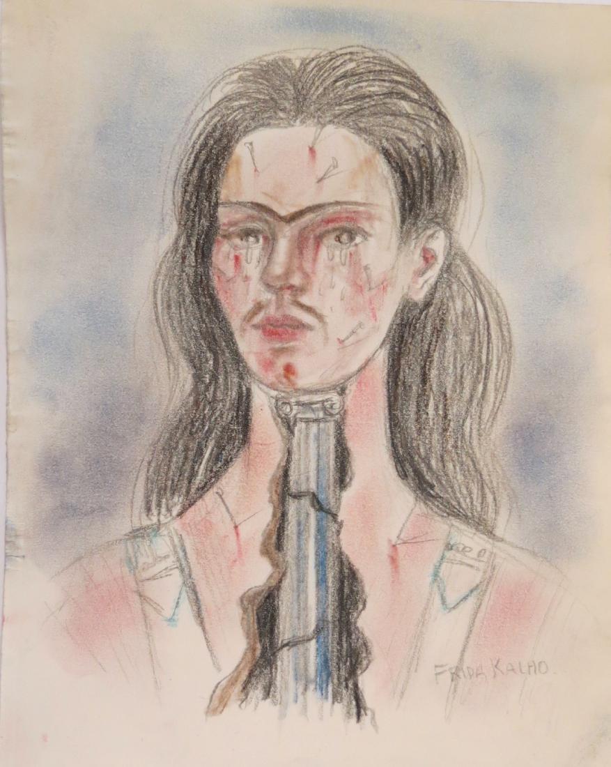 "Frida Kahlo - Color pencil on paper - Draft  8.1"" x"