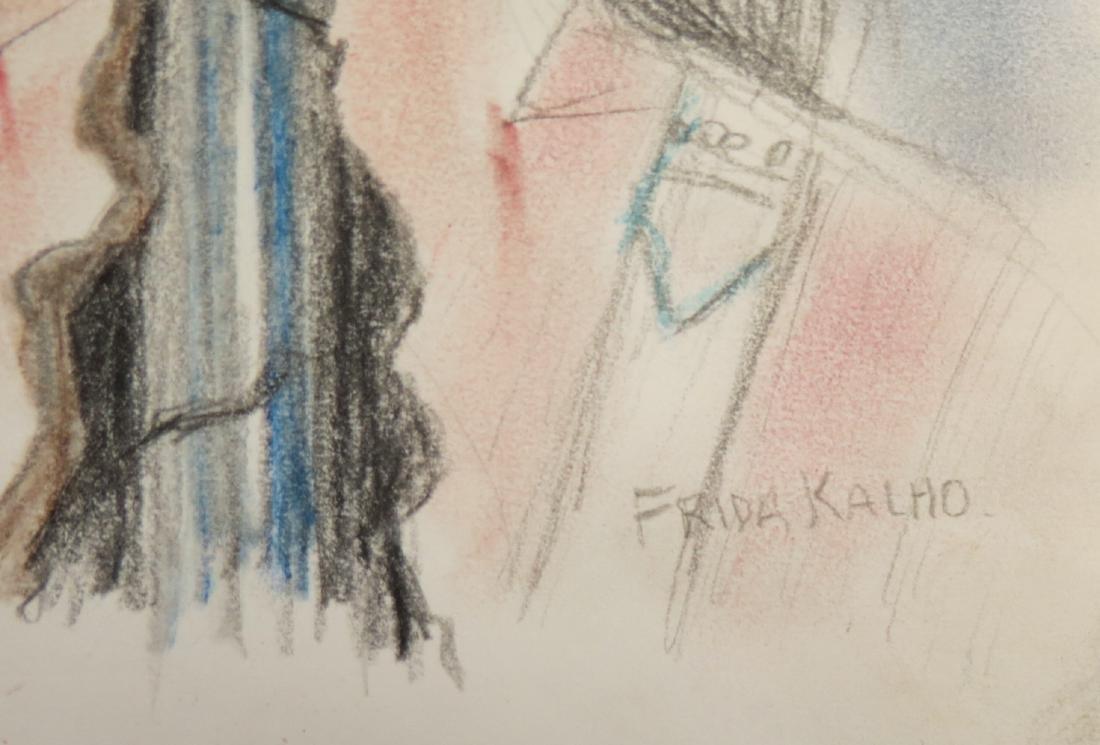 "Frida Kahlo - Color pencil on paper - Draft  8.1"" x - 2"