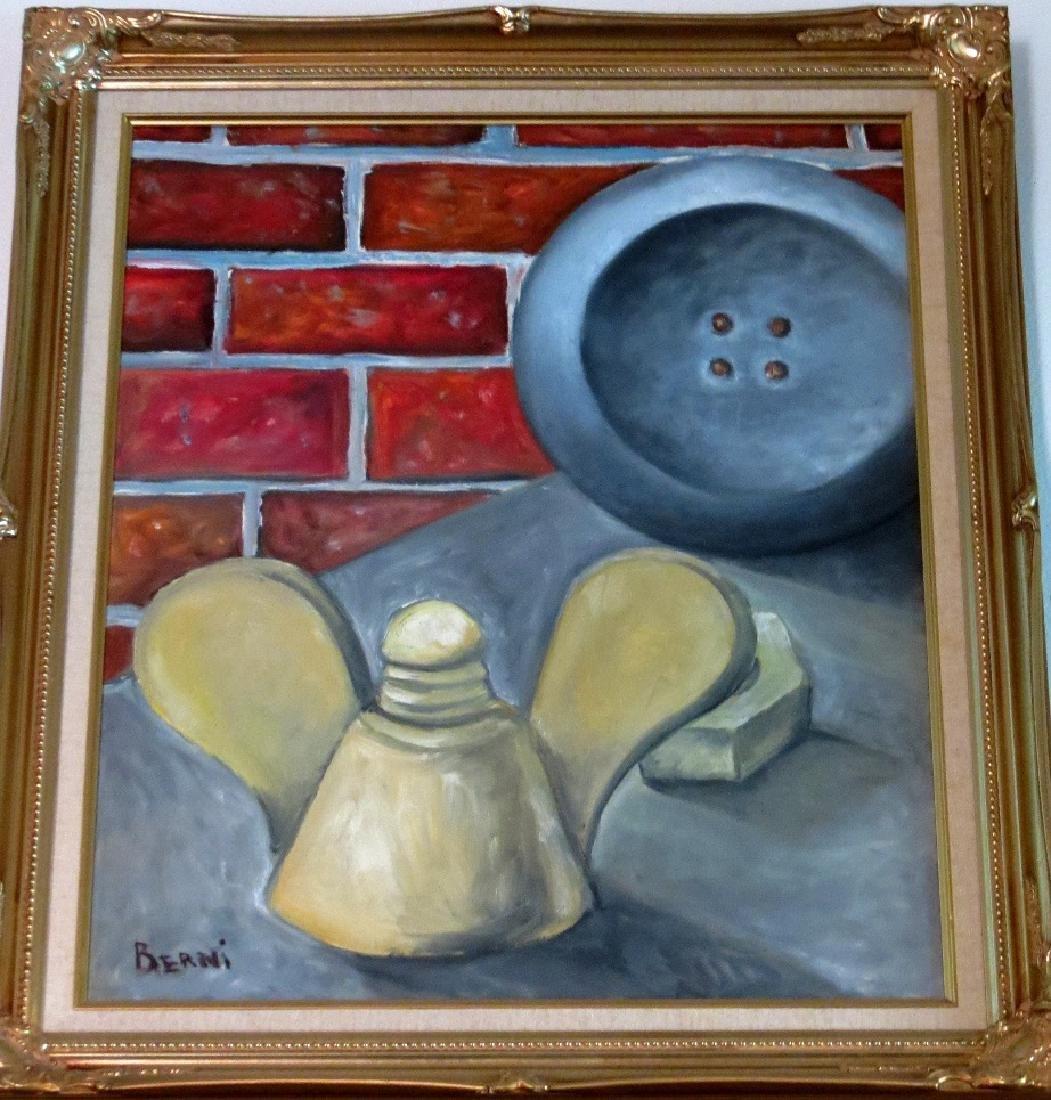 """A. Berni Oil on Canvas 18"""" x 16"""" COA F: 22"""" x 20"""""""