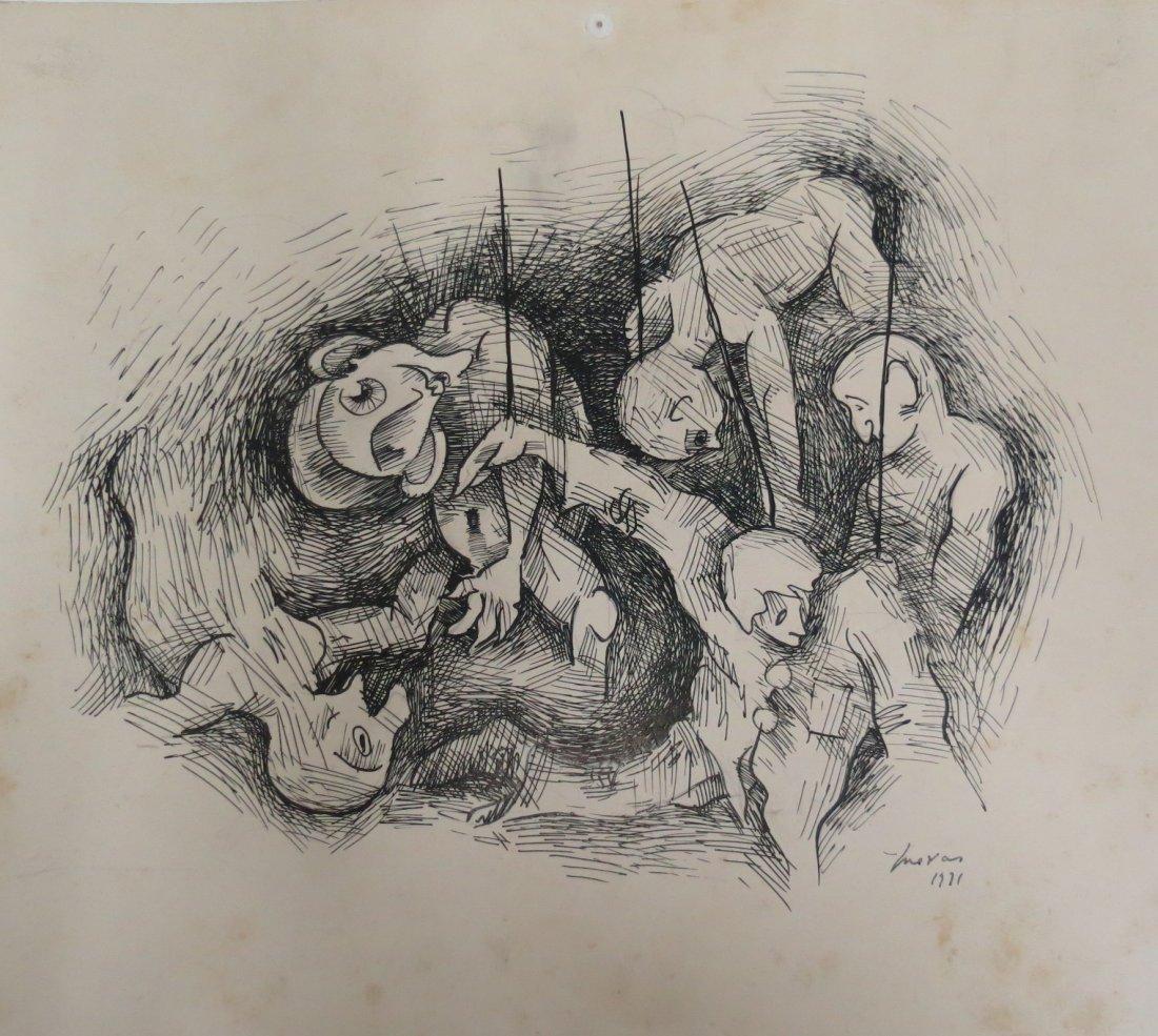 """Jose Luis Cuevas 1971 - Ink on Paper 11"""" x 10"""""""