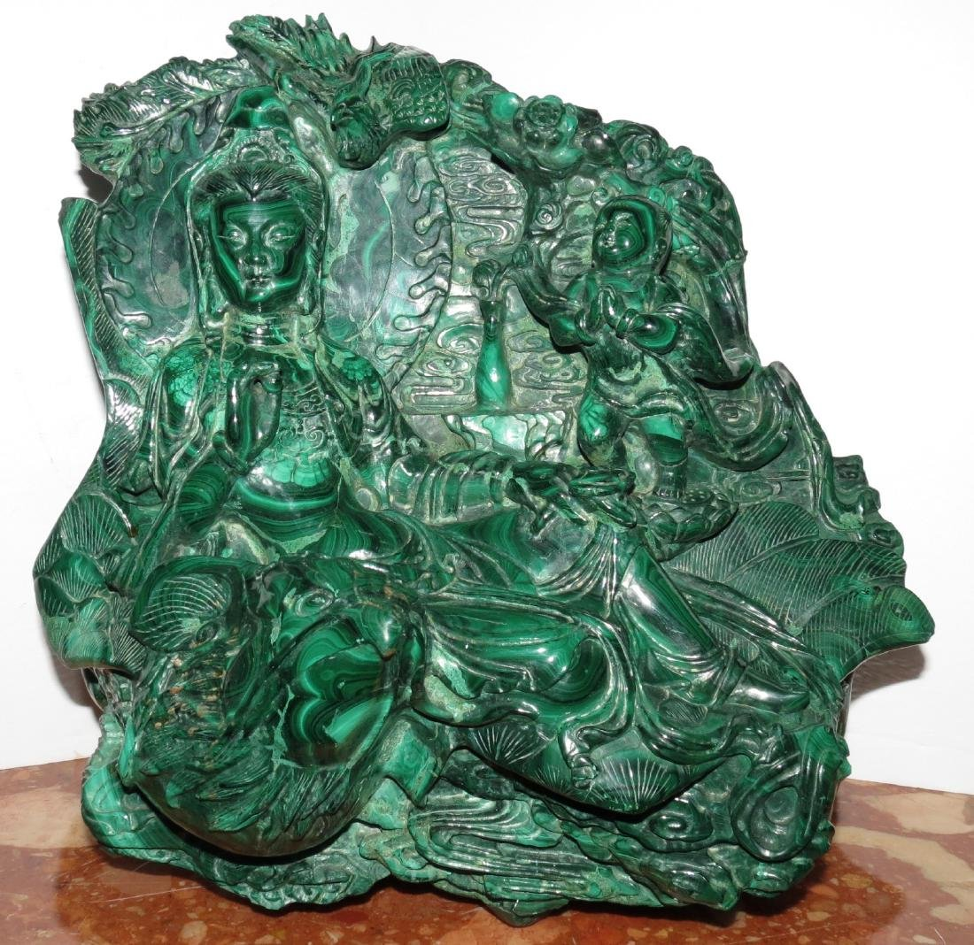 Malachite - Magnificent Large Chinese Sculpture 70 Lbs.