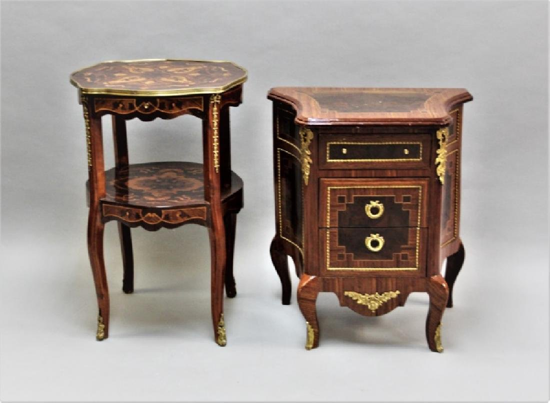 Two Tables with marquetry & bronze Louis XV