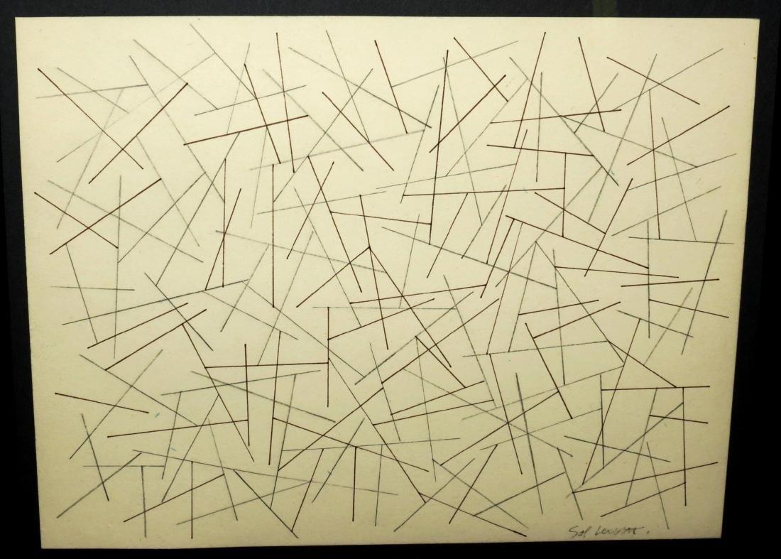 "Sol Lewitt - Pencil & Ink on paper 7"" x 9"" Fr: 12"" x"