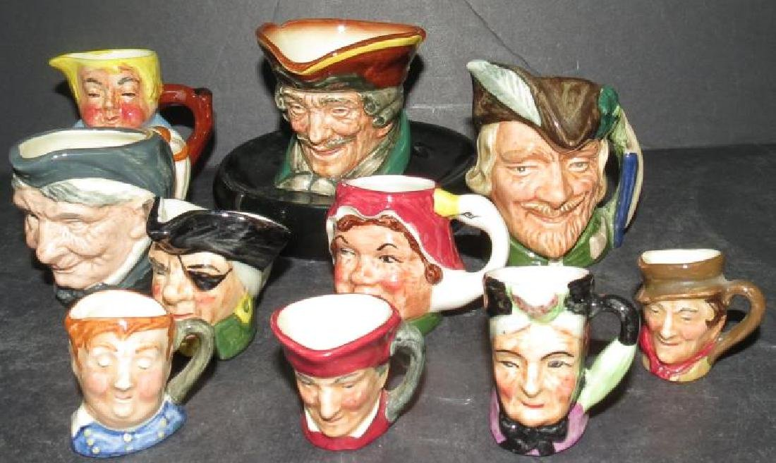 "Royal Doulton 10 Mini Toby Mugs 1"" to 4"""
