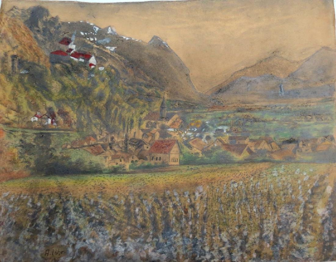 "August Lohr (Attributed) Pastel on Paper 21"" x 17"""
