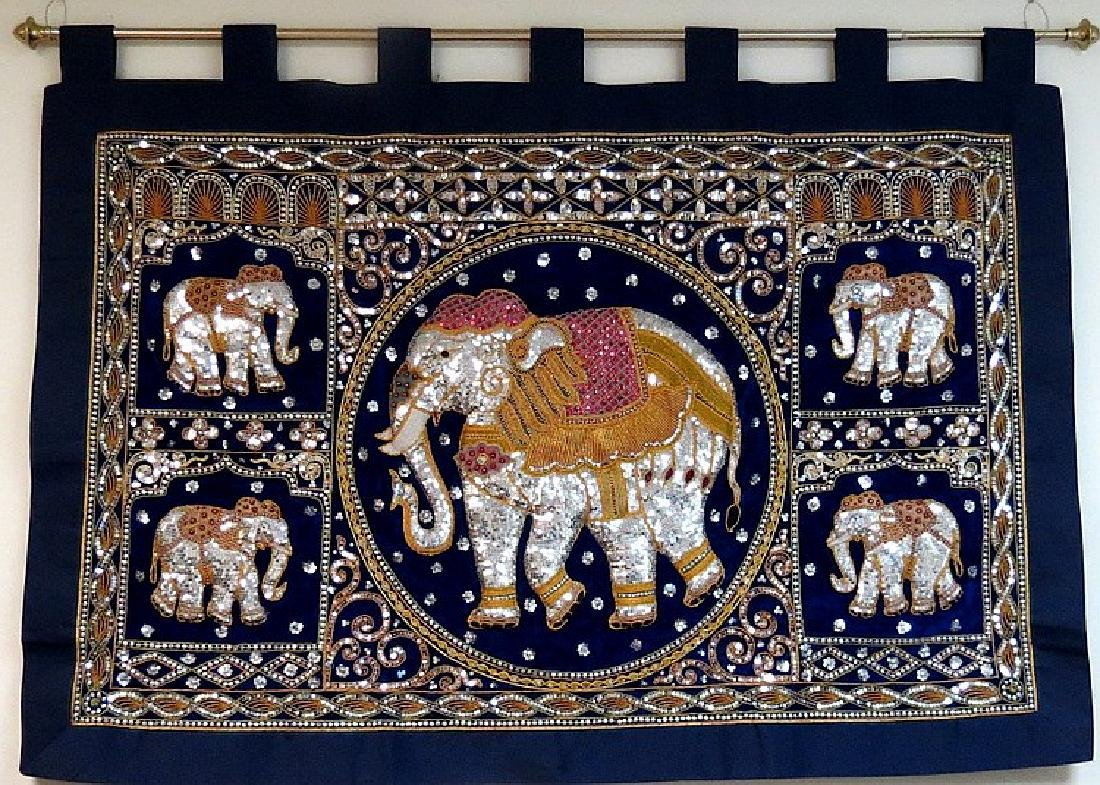 "Oriental Tapestry with Elephant 54"" x 38"" Excellent"