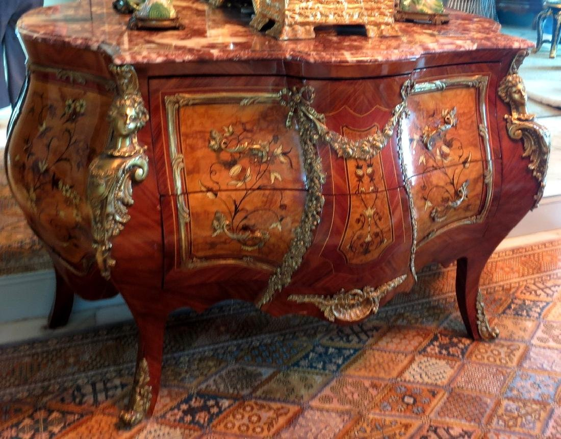 Empire Commode - Marqueterie & Bronze - Marble top