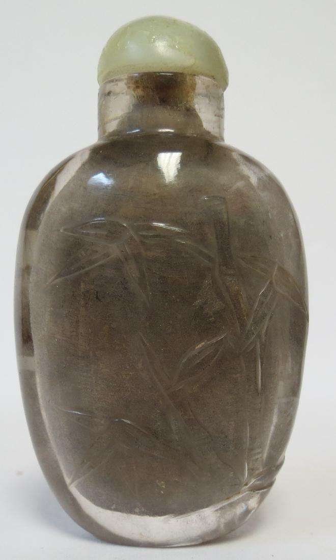 Snuff bottle Rock Crystal   w/flowers, Jade cap