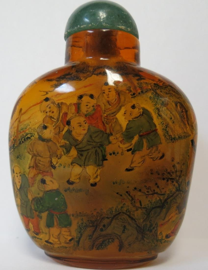 Snuff Bottle Peking glass interior painted Jade top