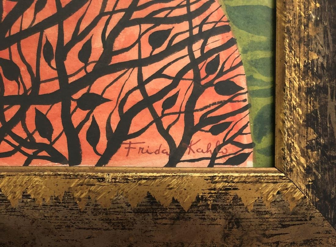 "Frida Kahlo (Attrib) Watercolor on Paper 16.3"" x 13.2"" - 2"