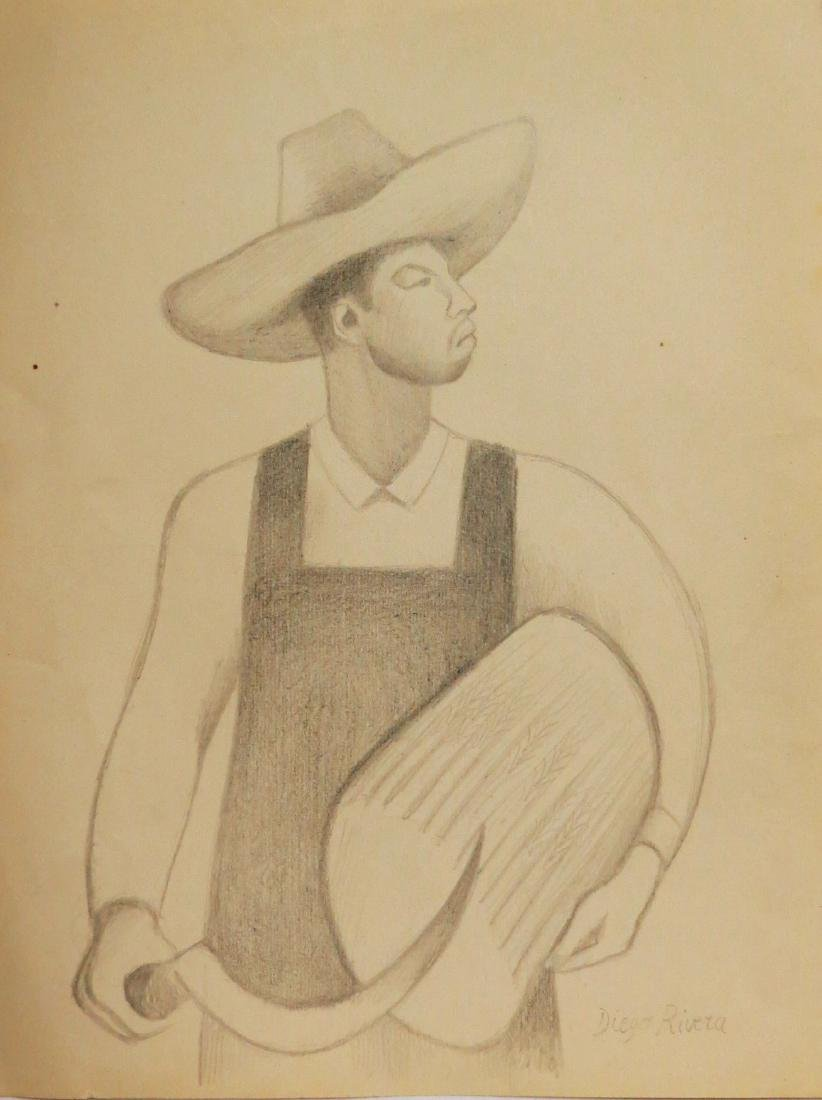 Diego Rivera - Pencil on Paper (Rough Draft) Signed