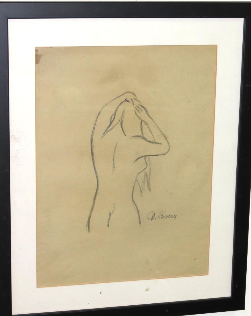 """Diego Rivera - Pencil on paper 9"""" x 12""""  COA"""