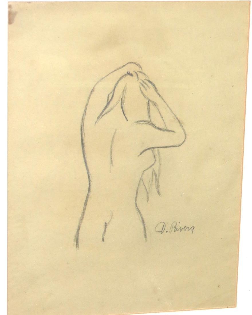 """Diego Rivera - Pencil on paper 9"""" x 12""""  COA - 2"""